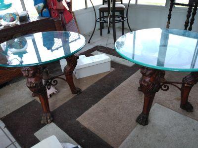 Lion head lion claw end tables