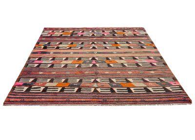 Striped Vintage Rug, Flat woven rug,decorative rug