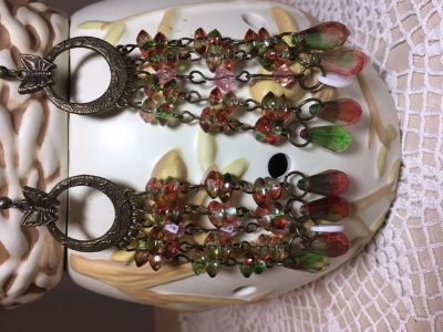 Chandelier Earrings Pinks and Greens Long Lightweight NEW