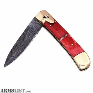 For Sale/Trade: Damascus Switchblade Red Bone