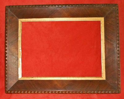 Antique Frame Chip Carved Wood Picture Mirror