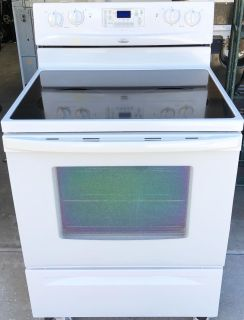 White Whirlpool Glass Top Self Cleaning Electric Stove