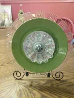 Pretty green 14 in Garden plate all screwed together drilled