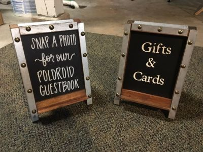 Double sided chalkboard easel signs