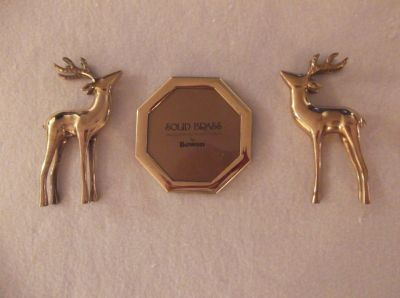 "( 2 ) Two Vintage 7 ""; Solid Brass Deer figurines & a 5 1/4 "", Hand Polished and Lacquered Bow..."