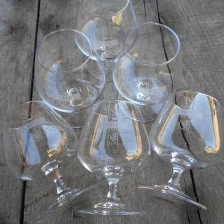 Six Martell Cognac Glasses. French Brandy Snifters