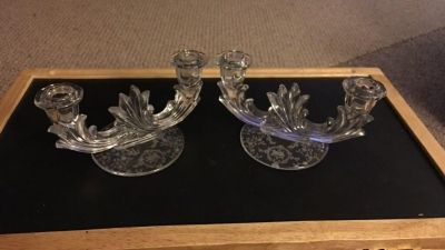 Vintage 1940 s Crystal Baroque double candle holders with etching on the bases