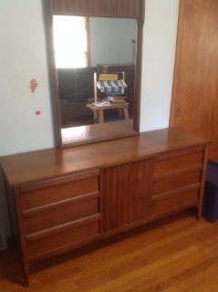 Mid century modern double dresser with mirror