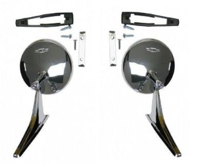 Purchase Camaro Nova Chevelle Round Bowtie Mirror With Ribbed Base 12 Pc Kit motorcycle in Canton, Texas, United States, for US $59.95