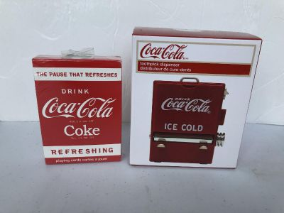 Coca-Cola playing cards and toothpick dispenser