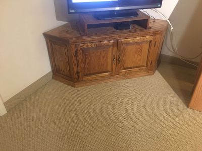 Corner oak cabinet for tv
