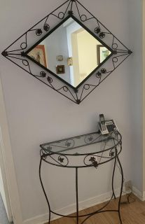 Wrought iron glass top table and mirror set