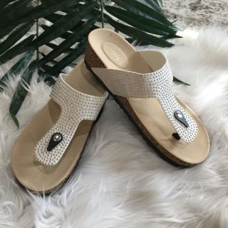 White Studded Slides. Size 12 but run a little small. Worn once!