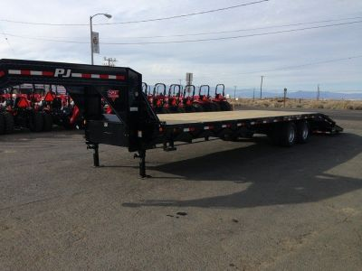32ft Flatdeck with Duals GVWR 25,000 lbs, Gooseneck Flatbed Trailer, PJ Trailer FD322-MR