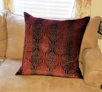 """Euro Sham Red Paisley Maroon 26"""" x 26"""" Cover Velvet Decor Pillow Bed Couch"""