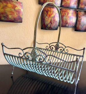Vintage-Inspired Wrought Iron Basket in a Verdigris Finish
