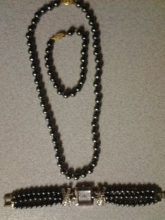 Smoked Beaded Watch & Necklace