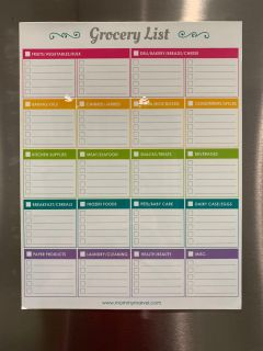 Large 8 1/2 x 11 Inch Grocery List Refrigerator Magnet