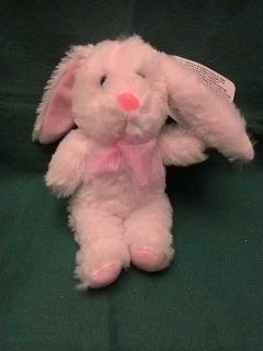 White rabbit with pink bow plush