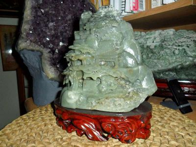 Exceptional Antique Chinese Hand-Crafted Carved Hetian Jade Statue & Landscape P