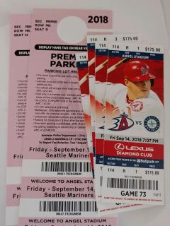 Mariners vs Angels tickets September 14th