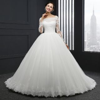 Clara's Boat Neck A Line Lace Wedding Gown