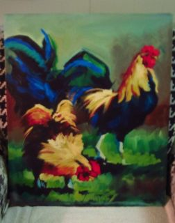 Colorful Canvas Chickens - Hen & Rooster