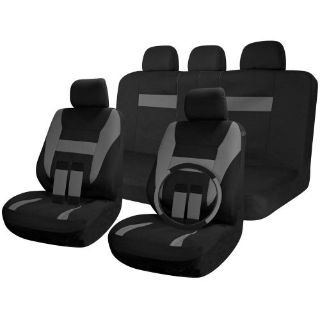 Purchase SUV Van Truck Seat Covers Full Set Black / Grey 17pc w/Steering Wheel Cover motorcycle in Van Nuys, California, United States, for US $26.16
