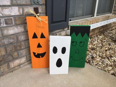 Halloween Front Porch Painted Wood Board Decor