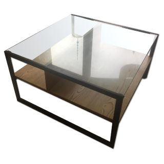 West Elm Glass Top Shadow Box Coffee Table