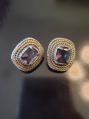 Earrings with Amethyst and Gold Accents