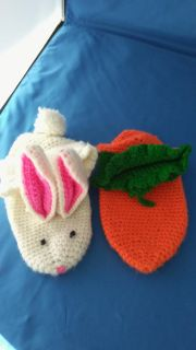 Crocheted Bunny and Carrot Slippers