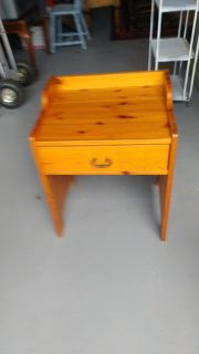 End Table with Drawer. Restained and Polished. 21x17x25
