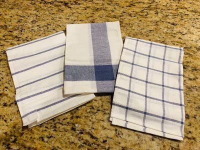 Set of 3 IKEA Canvas Kitchen Towels / Dishtowels in Navy/White {Brand New} so cute! Very Chip and Jo Style