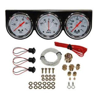 "Sell Universal 2-5/8"" 3 Gauge Set Chrome Bezel Water Oil Pressure Ammeter Kit motorcycle in Covina, California, United States, for US $49.95"