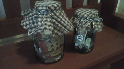 Two  Vintage Blue Ball Mason Jars Filled w/Vintage Sewing Related Items