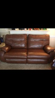 Leather rust orange couch