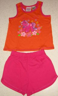 New Hasboro My Little Pony 2 Piece Tank Top & Shorts Outfit Orange & Pink Cheerilee Pony & Floral Print 4T