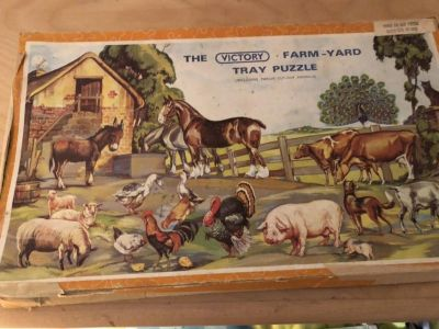 Vintage wooden puzzle with box