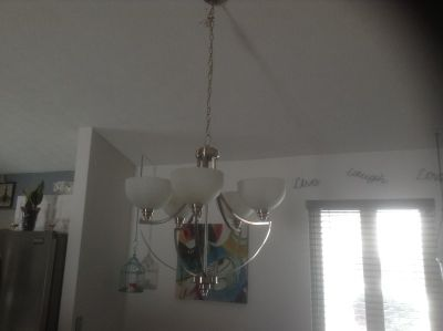 Hanging 5 light fixture Silver w white glass domes