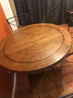 5pc Round Real Wood Table Dining Set