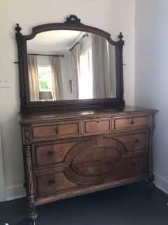 Antique chest with mirror