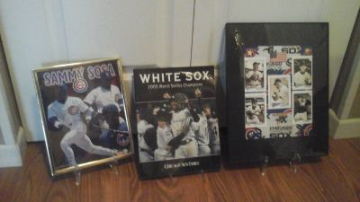 Chicago Cubs &White Sox's Framed Pictures & Book