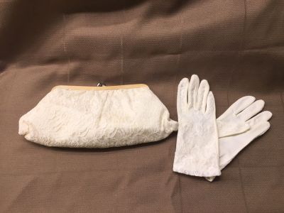 Antique wedding gloves and clutch