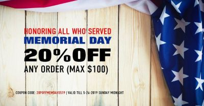 Memorial Day Sale - Get 20% Off on Any Order!