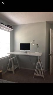 Adjustable white desk and tall director s desk