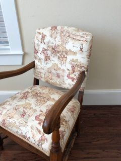 Reupholstered antique chair w/ double trim