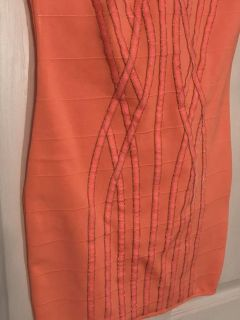Coral Bandeau Dress with Design