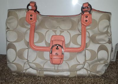 Authentic coral and tan Coach purse medium to large size