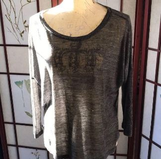 Old Navy Loose Fitting Sheer 3/4 Sleeve Gray Top